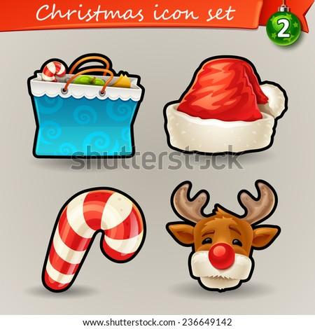 Funny Christmas icons-2 - stock vector