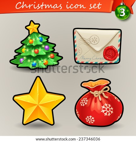 Funny Christmas icons-3 - stock vector