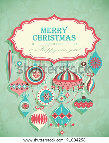 Funny Christmas postcard with place for text. Vector illustration. - stock vector