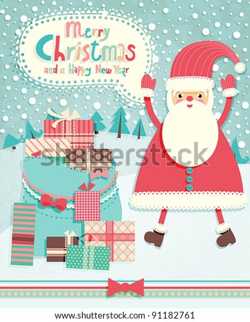 Funny Christmas postcard with Santa Claus. Vector illustration. - stock vector