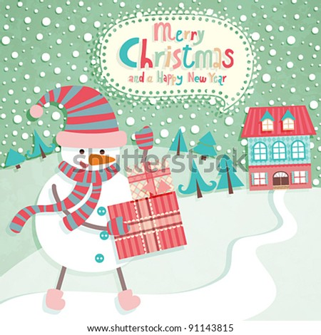 Funny Christmas postcard with Snow Man. Vector illustration. - stock vector