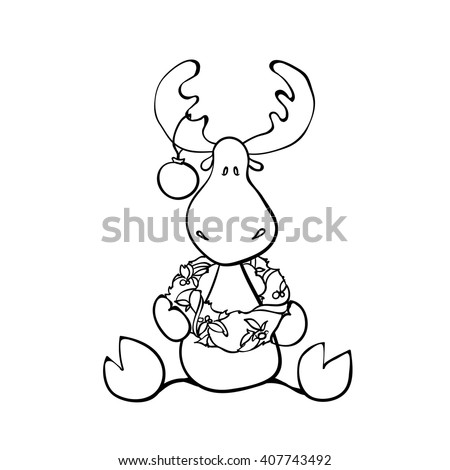 Funny Christmas Reindeer Black And White Vector Illustration For Coloring Book