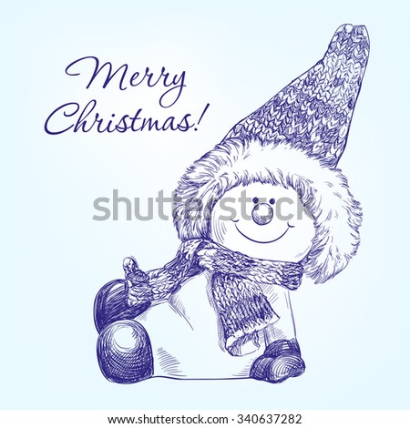 funny christmas snowman   hand drawn vector llustration  realistic  sketch - stock vector