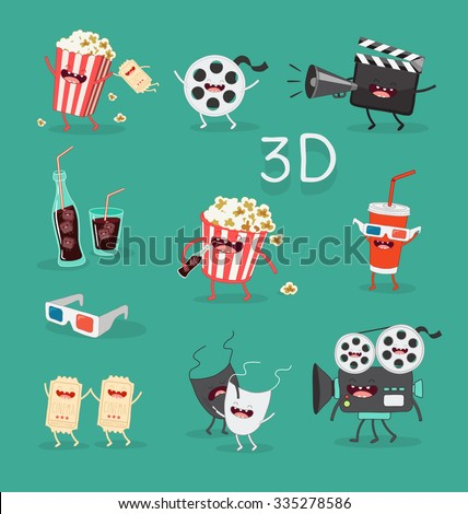 Funny cinema icons set. 3D glasses - stock vector
