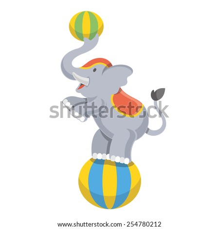 Funny circus elephant mascot vector illustration. Isolated on white background.