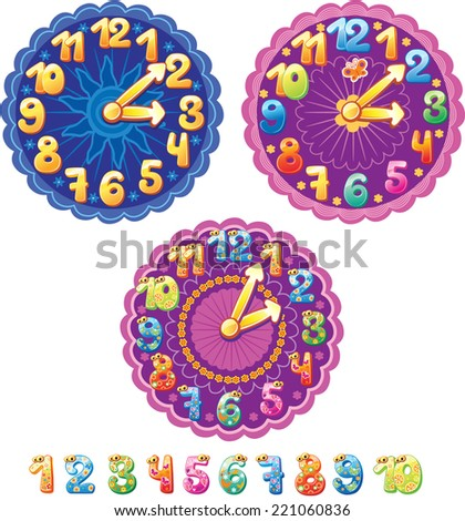 Funny clock for kids and numbers - stock vector
