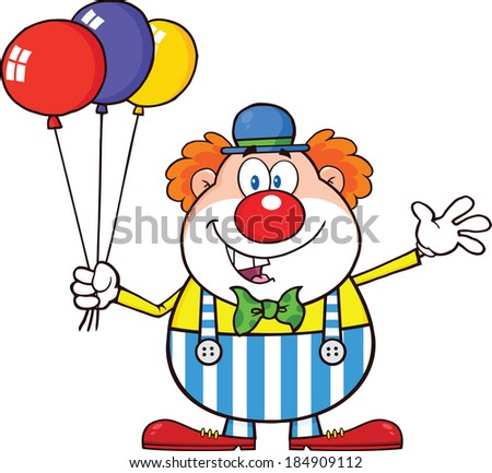 Funny Clown Cartoon Character With Balloons And Waving. Vector Illustration Isolated on white - stock vector