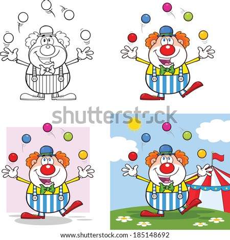 Funny Clown Cartoon Characters 4. Vector Collection Set - stock vector