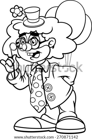 Funny clown contour drawing. Vector - stock vector