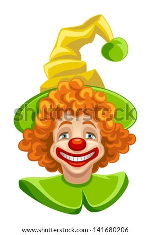 Funny clown head - stock vector