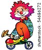 Funny clown rides a bicycle. Vector art-illustration on a white background. - stock vector