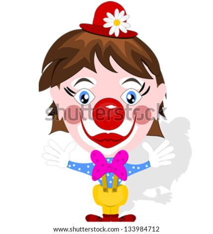 Funny clown with big smile - stock vector