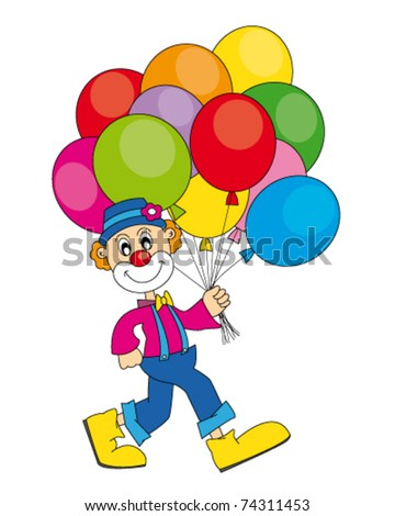 funny clown with lots of balloons. Vector art-illustration on a white background. - stock vector