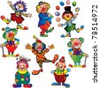 Funny clowns. Vector art-illustration on a white background. - stock vector