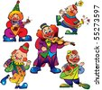 Funny clowns with musical instrument. Vector art-illustration on a white background. - stock