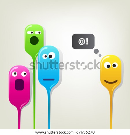 Funny color bubble-heads. Group of liquid bubble-heads demonstrating different emotions. Very simple and clear concept. - stock vector
