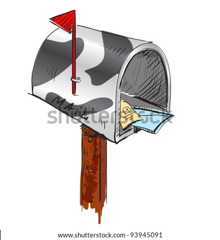 Funny colored mailbox cartoon icon. Sketch fast pencil hand drawing illustration in funny doodle style - stock vector