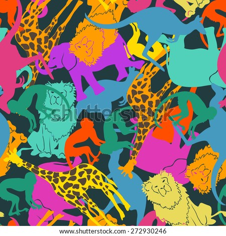 Funny colorful abstract animal silhouettes seamless pattern.  - stock vector
