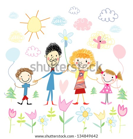 Funny colorful child's drawing of a happy family on a background of clouds and flowers - stock vector
