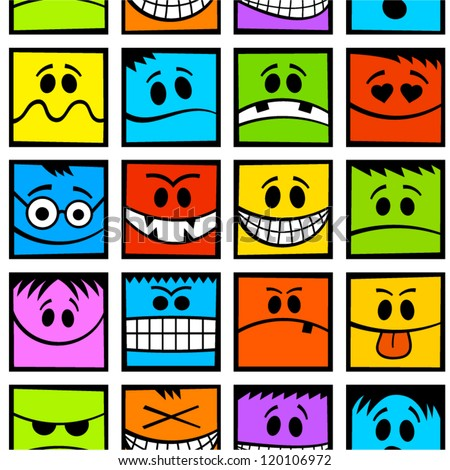 Funny colorful emotions seamless pattern.