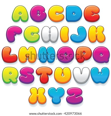 Funny Colorful Plastic Letters. Cartoon Vector Font Kit Ready for Your Text and Design. - stock vector