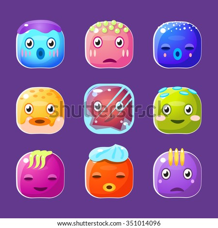 Funny colorful square faces set, cute emotional  cartoon vector avatars