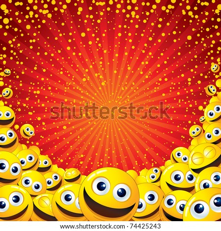 Funny colorful vector background with lot of Smileys - for your text or design - stock vector