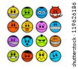 Funny colorful vector emoticons. - stock vector