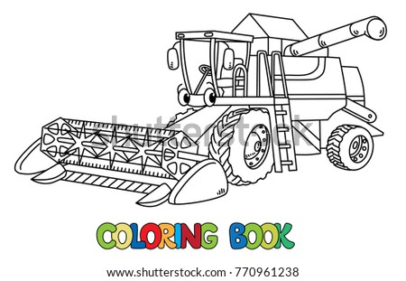 combine harvester coloring book stock vector