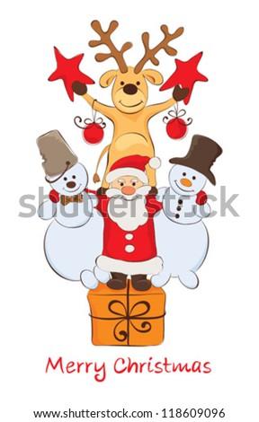 Funny Company - Santa, snowmen and reindeer - stock vector