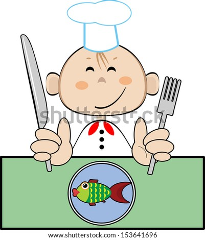 Funny cook with fish, vector. - stock vector
