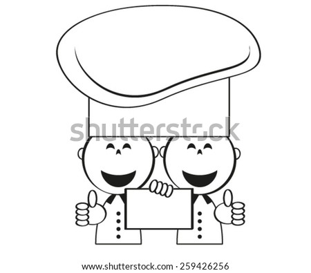 Funny cooks with menu, vector. - stock vector