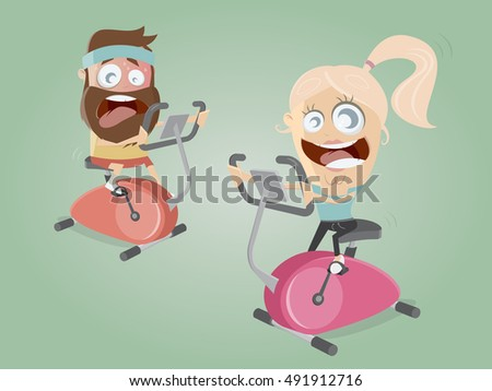 funny couple training on indoor bike trainer