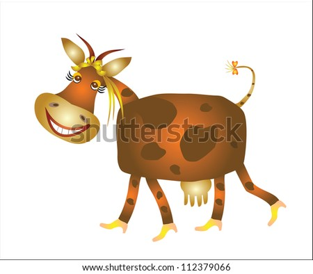 Funny Cow Cartoon - stock vector