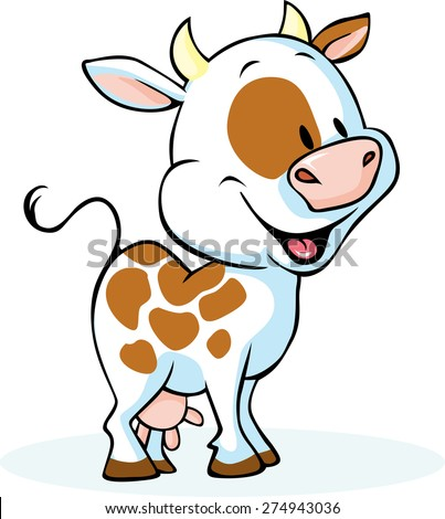 funny cow cartoon standing and smiling - vector illustration - stock vector