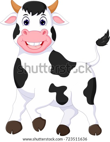 funny cow cartoon walking with laughing