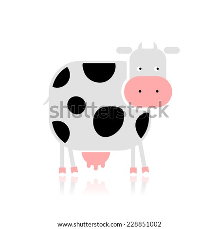 Funny cow for your design - stock vector