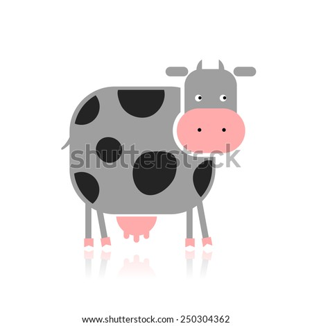 Funny cow for your design. Vector illustration - stock vector