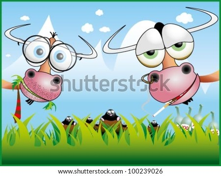 Funny cow illustration 4 - stock vector