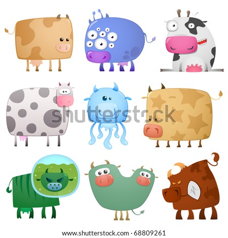 funny cows - stock vector