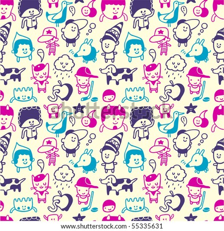 Funny creatures collection. Seamless pattern. Vector illustration. - stock vector