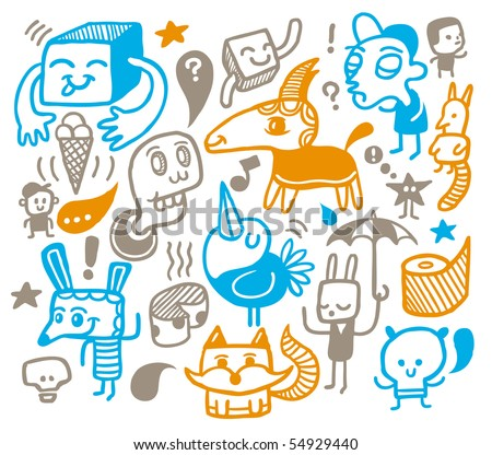 Funny creatures collection. Vector illustration. - stock vector