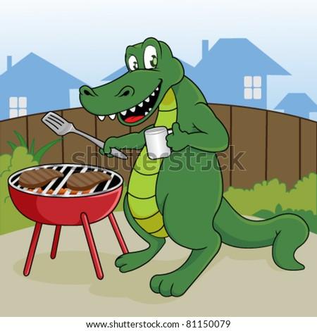 Funny Grilling Pics Funny Crocodile Grill a Steak