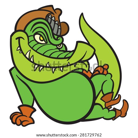 Funny crocodile in cowboy hat, boots and gloves - stock vector