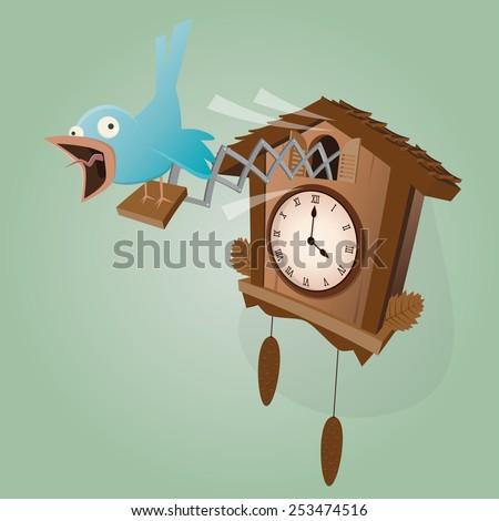 funny cuckoo clock illustration - stock vector