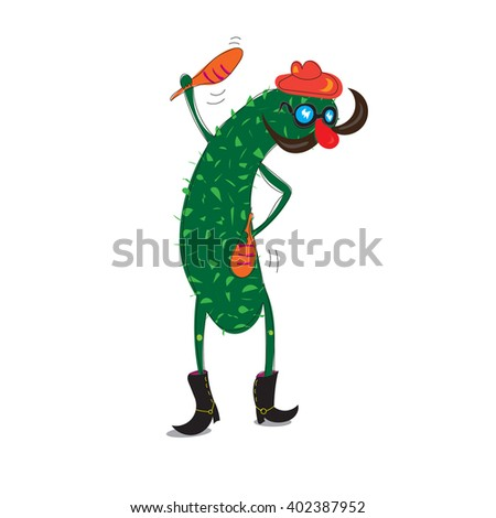 funny cucumber character with mustache wearing a hat and playing music. cartoon vector illustration - stock vector