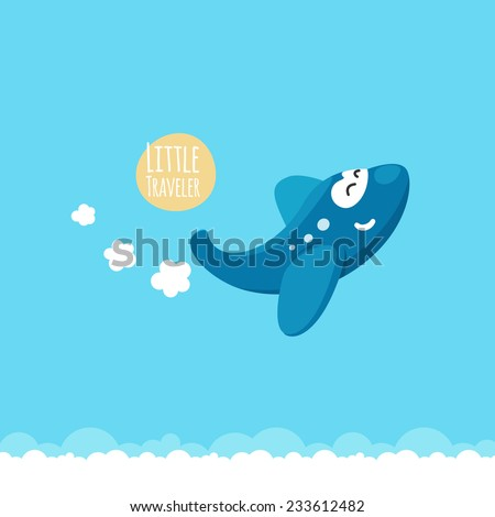 Funny cute airplane is flying in the air - stock vector