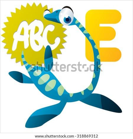 Funny Cute Animals ABC: Swimming Dinos: E is for Elasmosaurus - stock vector