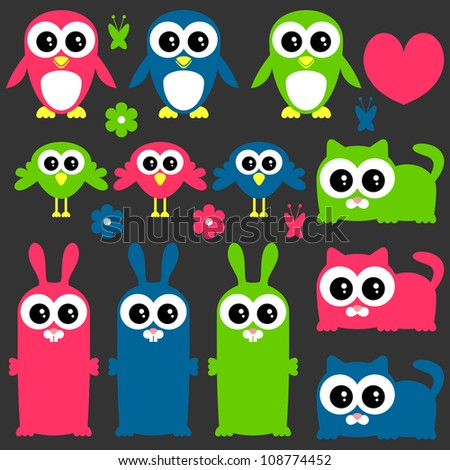 Funny cute animals elements set - stock vector