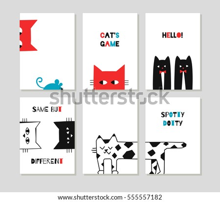 Funny cute cats. Set of hand drawn creative cards with cats and mouse. Vector design templates for greeting and gift cards, flyers, posters, badges.